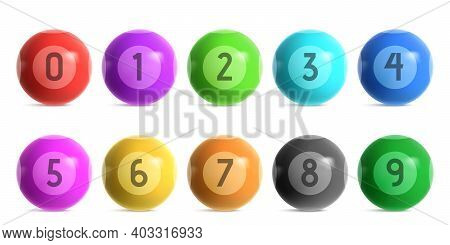 Bingo Lottery Balls With Numbers From Zero To Nine. Vector Realistic Set Of Shiny Color Balls For Lo
