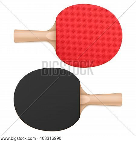 Ping Pong Paddles, Table Tennis Rackets Top And Bottom View. Sports Equipment With Wooden Handle And