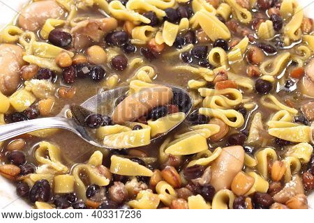Dish Containing Legume Soup And Egg Pasta