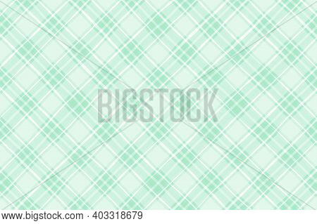 Pastel Green White Vintage Checkered Background. Space For Graphic Design. Checkered Texture. Classi