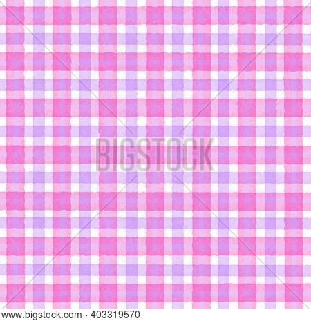 Pink Magenta White Lilac Vintage Checkered Background With Blur, Gradient And Grunge Texture. Classi