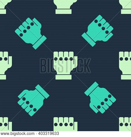 Green And Beige Mma Glove Icon Isolated Seamless Pattern On Blue Background. Sports Accessory Fighte