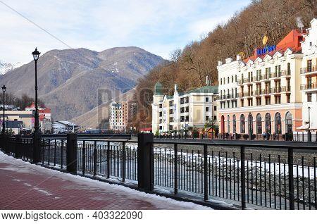 Sochi, Rosa Khutor, Russia - December 16, 2017: Ski Resort Rosa Khutor. Hotels On The Embankment Of