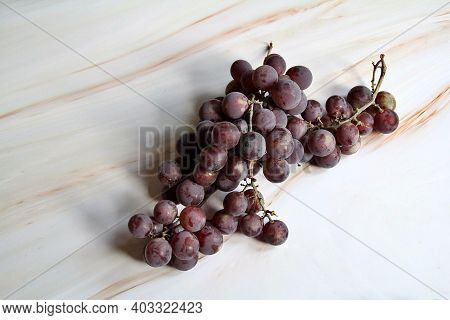 Grapes, A Bunch Of Grapes, Dark Grapes, A Twig Of Purple Grapes