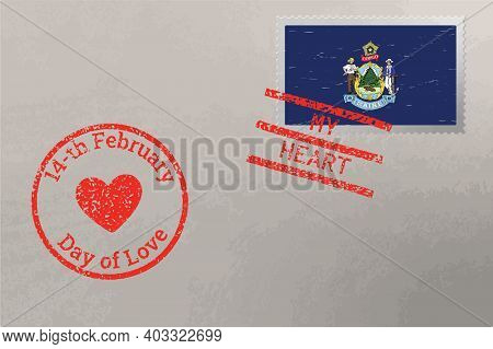 Postage Stamp Envelope With Maine Us Flag And Valentine S Day Stamps, Vector