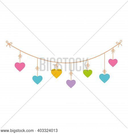 Colorful Festive Garland On Ropes With Colorful Hearts, Color Vector Isolated Illustration On White