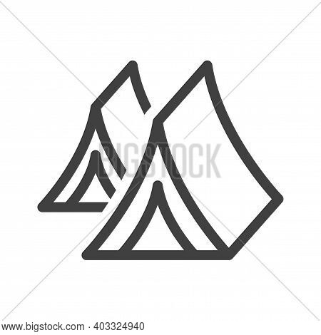 Tourist Tent Line Icon. Shelter Linear Style Sign For Mobile Concept And Web Design. Camp Tent Open