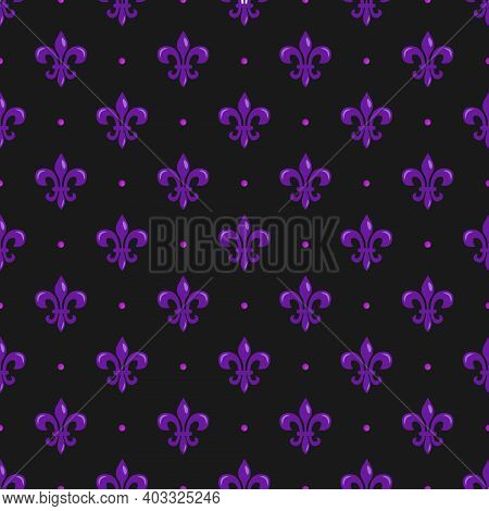 Vector Seamless Pattern With Purple Fleur De Lis; Mardi Gras Background For Wrapping Paper, Greeting