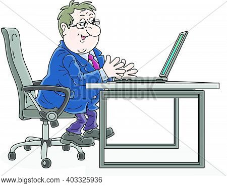 Successful Businessman Sitting In An Office Chair At His Desk, Working With A Laptop, Talking, Gesti