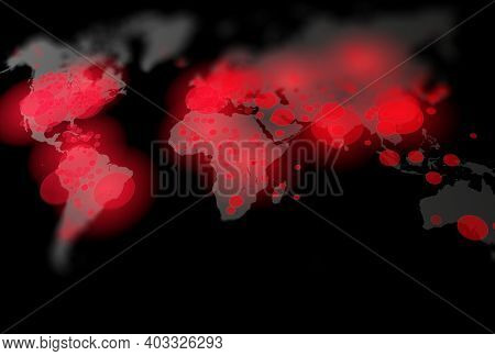Covid-19, Covid 19 map confirmed cases report worldwide globally. Coronavirus disease 2021 situation update worldwide. Maps show where the coronavirus has spread, 3D illustration on black background.