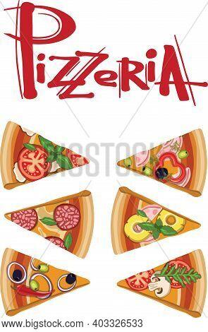 Set Slice Pizza Pepperoni, Hawaiian, Margherita, Mexican, Seafood, Capricciosa. Vector Engraving Ill