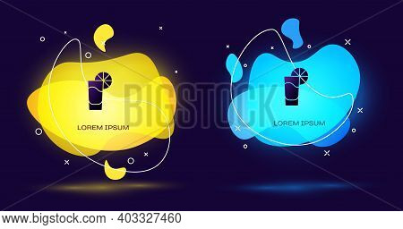 Black Tequila Glass With Lemon Icon Isolated On Black Background. Mexican Alcohol Drink. Abstract Ba