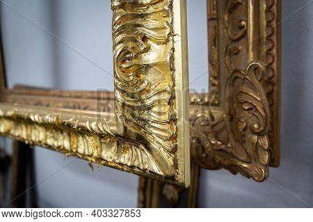 November 26, 2020 Lyon, Dijon, Burgundy, France: Detail Of Gilded Frames With Fine Gold