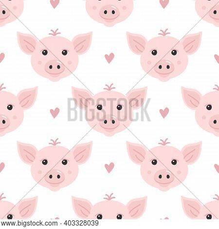 Cute Cartoon Style Piglet, Little Pink Pig And Hearts Vector Seamless Pattern Background.