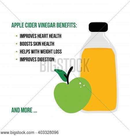 Apple Cider Vinegar Benefits Vector Cartoon Style Card.
