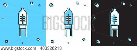 Set Light Emitting Diode Icon Isolated On Blue And White, Black Background. Semiconductor Diode Elec