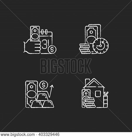 Hockshop Chalk White Icons Set On Black Background. Payday Loan. Extension. Gold Price. Down Payment