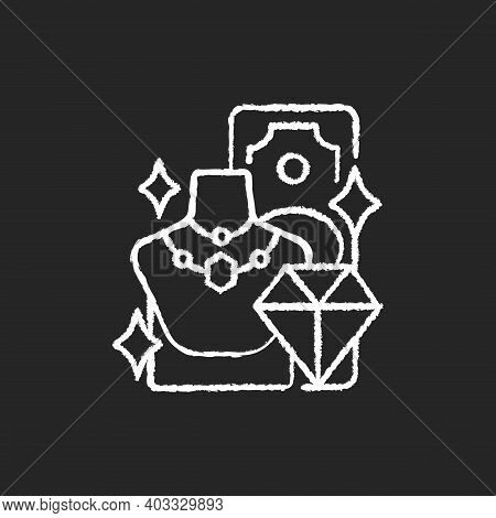 Product Valuable Chalk White Icon On Black Background. High-quality Items. Selling Gold, Silver And