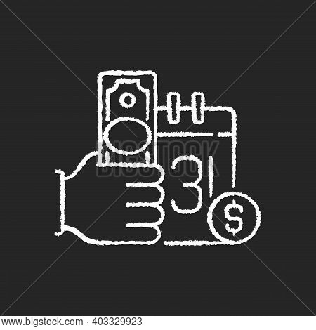 Payday Loan Chalk White Icon On Black Background. Short-term Borrowing. Cash Advance. Extending High