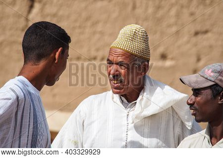 Rissani, Morocco - Oct 18, 2019: Rissani Market In Morocco And The Parking Of Donkeys And Mules. Afr