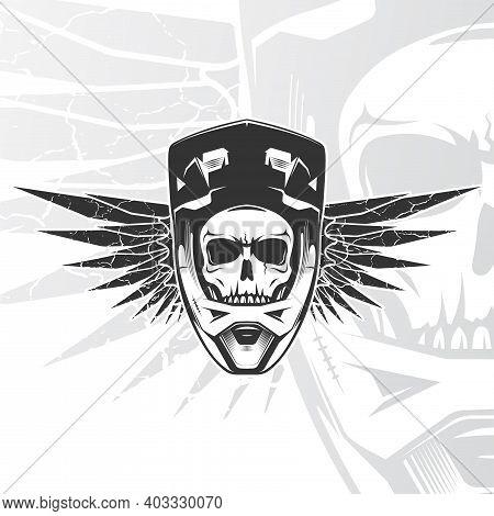Skull Biker With Full Face Helmet. Moto Sports Emblem. Mtb, Bmx, Motocross, Downhill Logo Design. Ve
