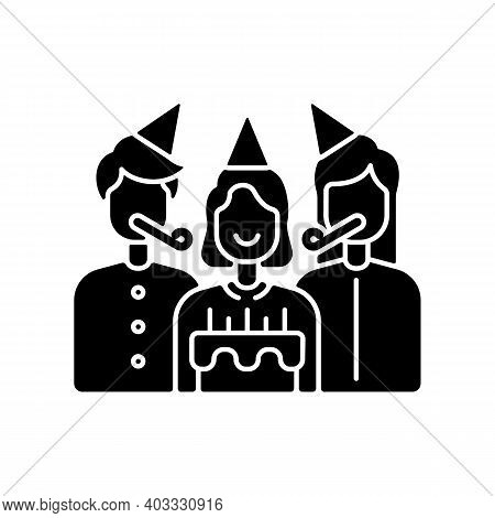 Birthday Party Black Glyph Icon. Surprise Celebration For Children. Special Occasion For Anniversary