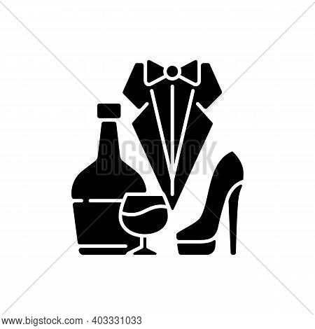 Bachelor Party Black Glyph Icon. Drinks For Event. Club For Man. Special Occasion. Stag Party For Gr