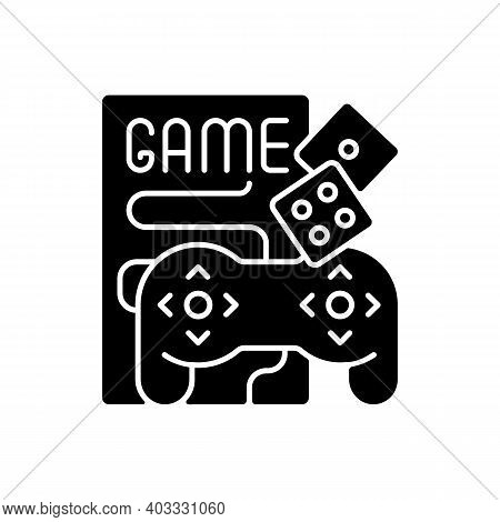 Game Night Black Glyph Icon. Entertainment And Recreation For Social Event. Boardgames And Videogame