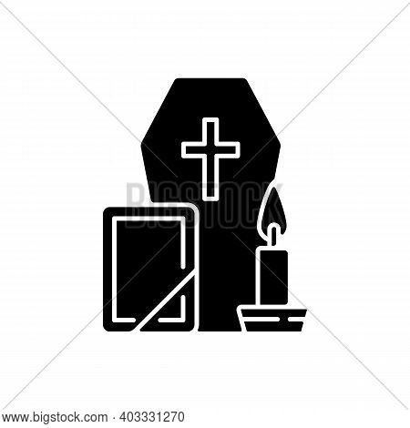 Funeral Black Glyph Icon. Coffin For Dead Relative. Religious Ritual. Memorial Service. Cemetery Cer