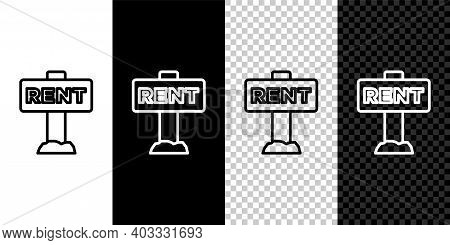 Set Line Hanging Sign With Text Rent Icon Isolated On Black And White, Transparent Background. Signb