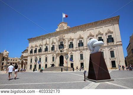 Valletta, Malta - August 14, 2019: Auberge De Castille In Valletta - The Office Of The Prime Ministe