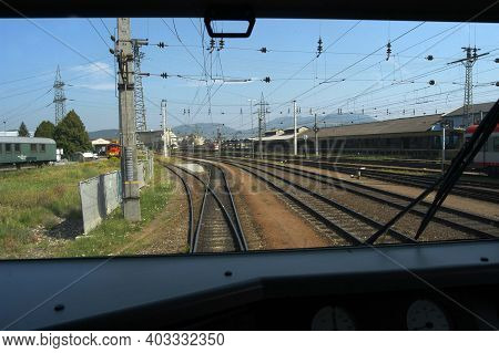 Switch Or Track Switch In Railroad And Train Traffic
