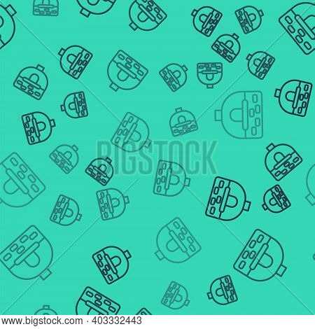 Black Line Brick Stove Icon Isolated Seamless Pattern On Green Background. Brick Fireplace, Masonry