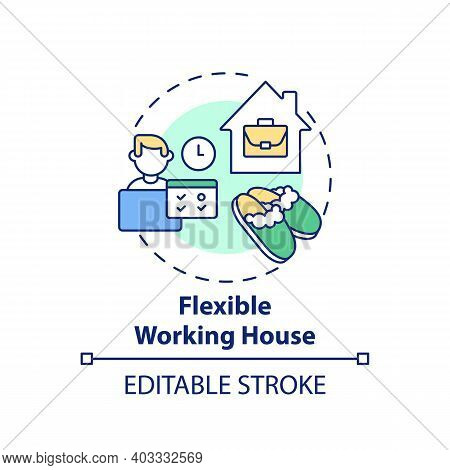 Flexible Working House Concept Icon. Working Remotely From Home Idea Thin Line Illustration. Work-li