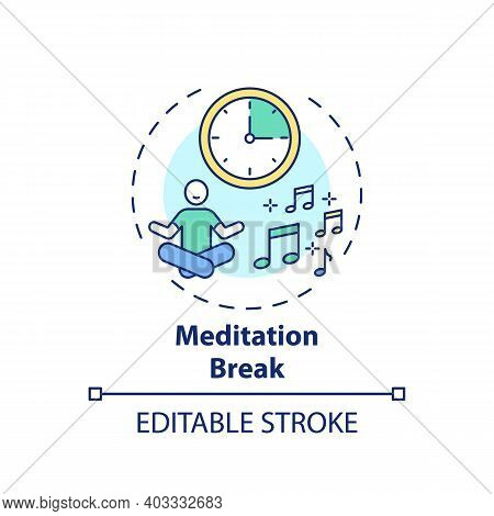 Meditation Break Concept Icon. Workplace Wellness Idea Thin Line Illustration. Creating Beneficial B