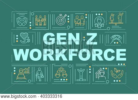 Gen Z Workforce Concepts Banner. Wellness And Physical Health In Workplace. Infographics With Linear