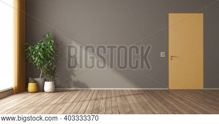 Empty Room With Yellow Flush Wall Door And Houseplants - 3d Rendering
