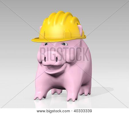 Piggy Bank With Construction Helmet