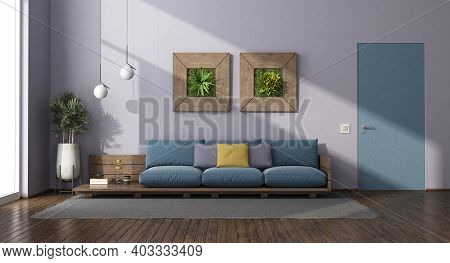 Living Room With Wooden Sofa, Flush Wall Door And Houseplants - 3d Rendering
