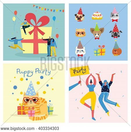 Puppy Party Background. Cute Greeting Card With Presents And Puppies Dog And Cats In The Flat Style