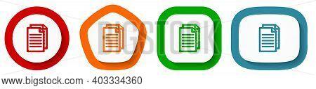 Set Of Flat Design Vector Document Icons, Peper Symbol Illustration In Eps 10