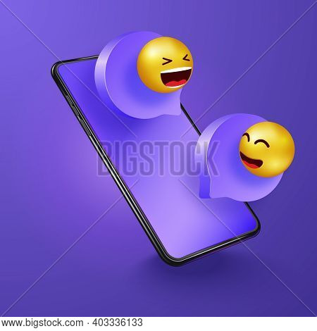 Chatting On Phone. Social Media Communication, Networking, Chatting, Messaging. Message Speech Illus