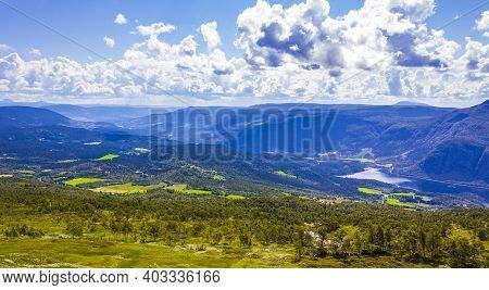 Mountain Landscape Panorama And Lake Vangsmjøse In Vang Norway.