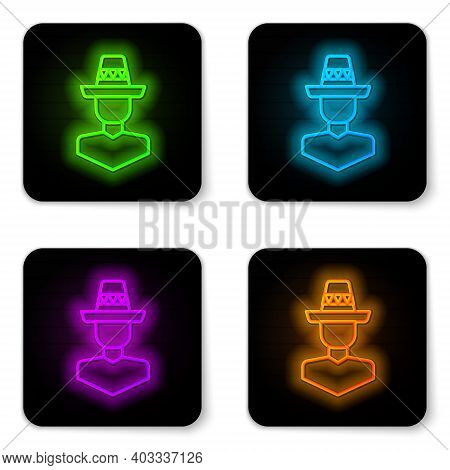 Glowing Neon Line Mexican Man Wearing Sombrero Icon Isolated On White Background. Hispanic Man With
