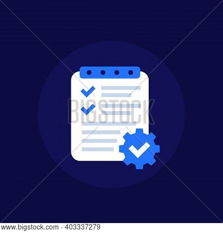 Project Management, Plan Icon, Flat Vector Art