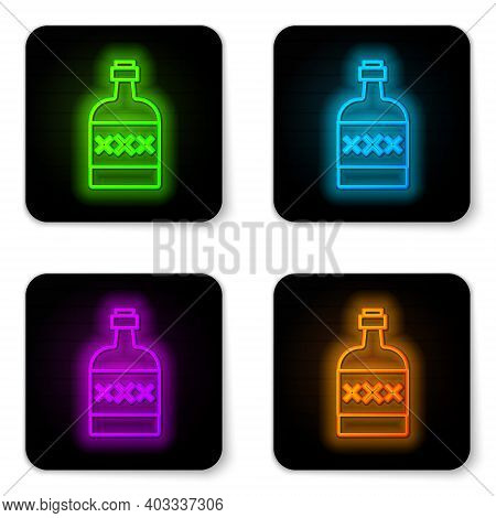 Glowing Neon Line Tequila Bottle Icon Isolated On White Background. Mexican Alcohol Drink. Black Squ