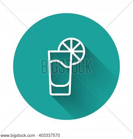 White Line Tequila Glass With Lemon Icon Isolated With Long Shadow Background. Mexican Alcohol Drink