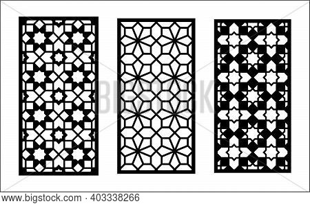 Cnc Laser Pattern. Set Of Decorative Vector Panels, Screen For Laser Cutting. Cnc Template For Room