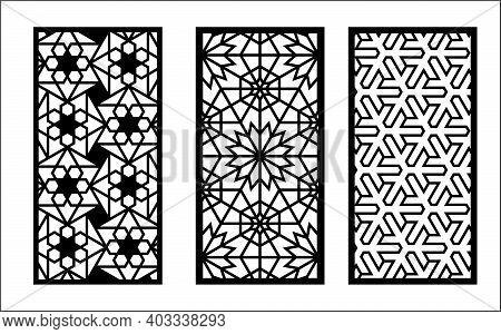 Laser Arabesque Jali Pattern. Set Of Decorative Vector Panels For Laser Cutting. Template For Interi