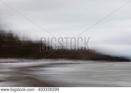 Intentional Camera Motion Photo Of Trees On A Beach. Near Southampton, Ontario, Canada